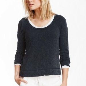 James Perse Dark Gray Pullover Raglan Sweatshirt